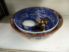 TWO POTTERY BOWLS, SILVER WARES,ETC.