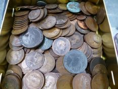A QUANTITY OF COINS MOSTLY ONE PENNYS, ETC.