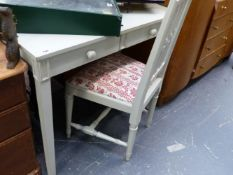 A PAINTED DRESSING TABLE AND SIMILAR SIDE CHAIR.