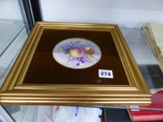 A HAND PAINTED PORCELAIN PANEL SIGNED F CLARK (WORCESTER FACTORY).