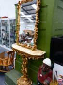 A GILT AND MARBLE CONSOLE TABLE WITH MATCHING MIRROR.