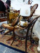 A BENTWOOD CHILD'S CHAIR, AN OIL LAMP AND A COPPER WARMING PAN, ETC.