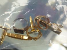 A QUANTITY OF HALLMARKED GOLD RINGS ETC.