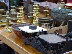 VARIOUS SCALES AND WEIGHTS, BRASSWARES,ETC.