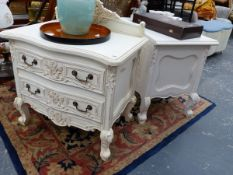 TWO SIMILAR FRENCH STYLE SMALL TWO DRAWER CHESTS.