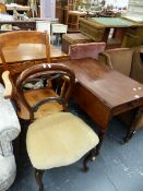 A VICTORIAN PEMBROKE TABLE, A LARGE ARMCHAIR AND A BALLOON BACK CHAIR.