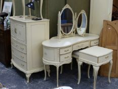 A GOOD FRENCH STYLE WHITEWARE BEDROOM SUITE.