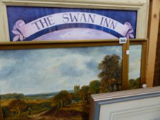 A FRAMED PICTURE OF SWAN INN AND TWO OIL PAINTINGS.