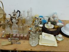 VARIOUS DECANTERS, CHINAWARES, LIGHTS,ETC.
