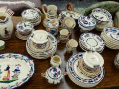 A LARGE COLLECTION OF QUIMPER AND OTHER CHINAWARES.
