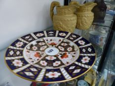 A ROYAL CROWN DERBY PLATE AND TWO VICTORIAN JUGS.