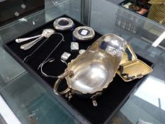 HALLMARKED SILVER TO INCLUDE A CIGARETTE CASE WITH GILDED INNER, CUTLERY, PHOTO FRAMES, PILL BOXES