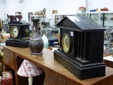 TWO VICTORIAN SLATE MANTLE CLOCKS.