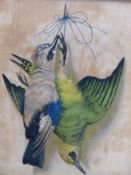 A VINTAGE TROMPE DE'OEIL PICTURE OF HANGING BIRDS.