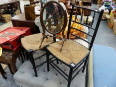 A PAIR OF MORRIS STYLE EBONISED SIDE CHAIRS.