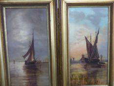 A PAIR OF OILS ON CANVAS BOATS ON THE BROADS., MONOGRAMED I P.