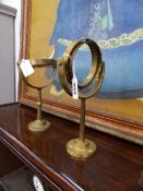 TWO BRASS GIMBLE LAMP HANGERS.