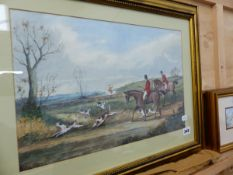 A WATERCOLOUR HUNTING SCENE MONOGRAMED HS.