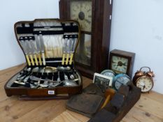 AN AMERICAN WALL CLOCK, CUTLERY AND COLLECTABLES.