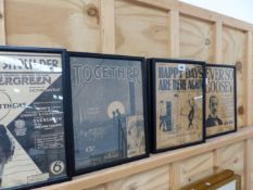 A GROUP OF FRAMED PICTORIAL SHEET MUSIC COVERS.