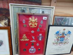 A FRAME OF MILITARY EMBLEMS AND PRINTS AND PICTURES.