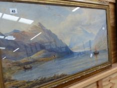 TWO LARGE LATE 19th.C.WATERCOLOURS IN GILT FRAMES.