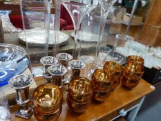 A QTY OF GLASSWARE.
