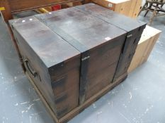 AN IRON BOUND OAK SILVER CHEST.