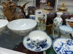 AN ANTIQUE CHINESE BRUSH POT, TWO BOWLS, FIRST PERIOD WORCESTER TEA BOWL AND SAUCER,ETC.