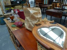A PINE WALL MIRROR, DECANTERS,ETC.