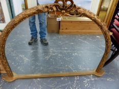 A VICTORIAN STYLE OVERMANTLE MIRROR.