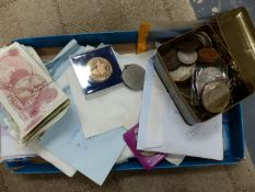 A QUANTITY OF ENGLISH AND FOREIGN BANK NOTES AND COINS TO INCLUDE SOUVENIR COINS, SHILLINGS,