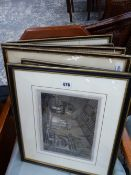 A QTY OF ANTIQUE ENGRAVINGS.