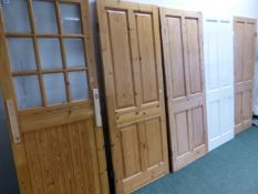 FIVE PINE INTERIOR DOORS.