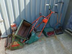 VARIOUS VINTAGE PUSH MOWERS.