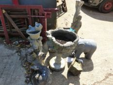 VARIOUS GARDEN ORNAMENTS, BIRD BATHS, ETC.