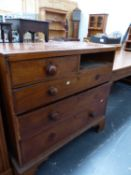 A VICTORIAN MAHOGANY CHEST OF DRAWERS.