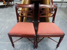 A GOOD PAIR OF LATE GEORGIAN MAHOGANY SIDE CHAIRS.