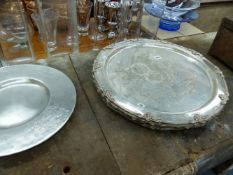 A QTY OF LARGE PLATED TRAYS,ETC.