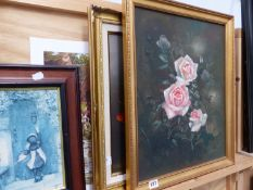 TWO FLORAL OIL PAINTINGS,ETC.