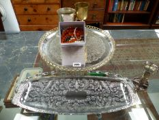 COSTUME JEWELLERY AND PLATED WARE TO INCLUDE A SERVING TRAY, TANKARD ETC.