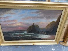 A LARGE OIL PAINTING CORNISH FISHER MEN IN COVE.