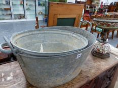 TWO GALVANISED TUBS.