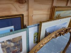 A QTY OF PAINTINGS AND PRINTS TO INCLUDE LOCAL SCENES.
