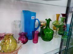 A QTY OF DECORATIVE GLASSWARES.