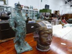 AN EASTERN BRONZE HEAD AND A CHINESE FIGURE OF A WARRIOR.