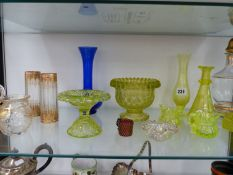 A QUANTITY OF ANTIQUE AND LATER URANIUM GLASS AND OTHERS.