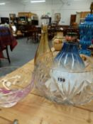 A LARGE CUT GLASS BOWL AND OTHER GLASSWARES.