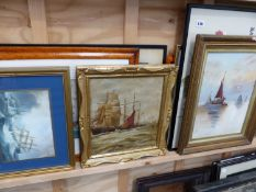 TWO OIL PAINTINGS MARINE SCENES AND OTHER MARINE WATERCOLOURS AND PRINTS.