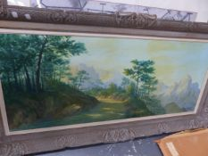 A LARGE OIL PAINTING ALPINE SCENE SIGNED GOUJON.